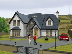 Nice size of house add front door porch House Plans Uk, Square House Plans, Metal House Plans, House Layout Plans, Dream House Plans, House Layouts, House Designs Ireland, Houses In Ireland, Country House Design