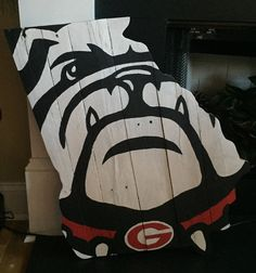 Large Hand Painted Bulldog Face on State of Georgia Pallet Wood Sign. Red Spots On Baby Face Wood Pallet Signs, Wood Pallets, Wood Signs, Wood Projects, Woodworking Projects, Woodworking Videos, Woodworking Furniture, Craft Projects, Painting On Pallet Wood