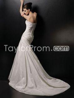 Amazing  Strapless Chapel Ruffling Taffeta Mermaid/ Trumpet Wedding Dresses