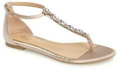 Gotta love me some sandals that can be worn with a dress or jeans | Women's Jewel Badgley Mischka Carrol Embellished T-Strap Sandal