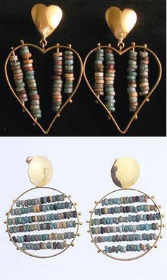 Earrings | Egyptian Faience Beads Set In 18k Gold Earrings | Beads come from Sinai, Egypt and date back to ca, 1600 BC - 1100 BC | Artist/Jeweller unknown ~ SOLD