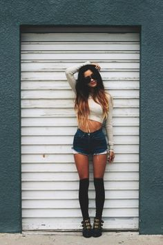 Midriff & High Waisted Shorts & Long Socks