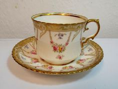 PRETTY AYNSLEY FLORAL AND GILT CUP & SAUCER in Pottery, Porcelain & Glass, Porcelain/ China, Aynsley, Tableware | eBay