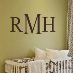 Monogram Wall Decal- Traditional Style Initials #2-Vinyl Wall Decal for Nursery Kids Room Master Bedroom- Wall Applique- Custom Lettering by landbgraphics on Etsy