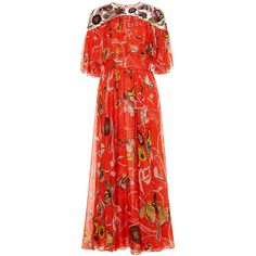 Emilio Pucci Embroidered Long Dress ($6,000) ❤ liked on Polyvore featuring dresses, print, yoke dress, red embroidered dress, embroidery dresses, red a line dress and long dresses