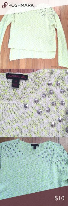 Material girl green studded sweater Material girl green studded sweater Material Girl Tops Sweatshirts & Hoodies
