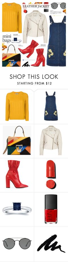 """""""Leather Biker jacket & suede mini bag - Fall Style"""" by anyasdesigns ❤ liked on Polyvore featuring Prada, Topshop, River Island, MSGM, Auriya, NARS Cosmetics and Ray-Ban"""