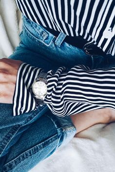 Sarurday #details #blue jeans #shirt #watch #woman fashion #inspiration #trend #me