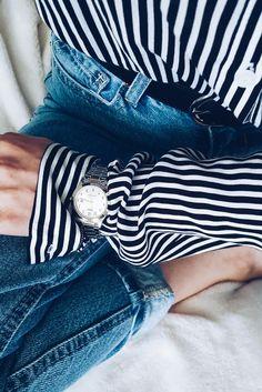 Sarurday #details #blue jeans #shirt #watch #woman fashion #inspiration #trend #me
