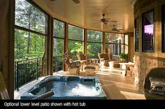 hot tub on the porch