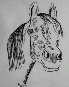 """Dieses Bild """"Pferdekopf Araber"""" habe ich heute Vormittag mit meiner Nähmaschine """"genähmalt"""". Es ist mit einem 30 x 40cm-Rahmen gerahmt./This picture of an Arabian I have """"drawn"""" this morning with my sewing machine. Frame size: 30 x 40cm."""