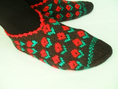 spring black red greenHand Knit Turkish Socks by Istanbulcolors, $19.50