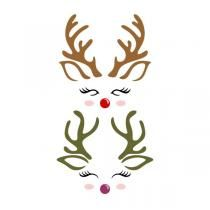 Reindeer Cute Faces SVG Cuttable Design