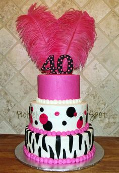 Hot Pink & Black40th Birthday Cake