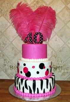 Hot Pink & Black40th Birthday Cake