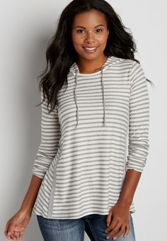 striped pullover with hood and snap buttons (original price, $34.00) available at #Maurices
