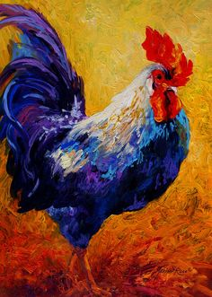 Rooster Paintings Large | Indy - Rooster Painting by Marion Rose - Indy - Rooster Fine Art ...