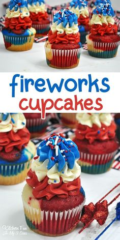 Patriotic Fireworks BOMB POP cupcakes for Memorial Day or of July! Summer Cupcakes, Holiday Cupcakes, Holiday Treats, Holiday Recipes, Patriotic Cupcakes, 4th July Cupcakes, Summer Cupcake Recipes, Patriotic Desserts, Fancy Cupcakes