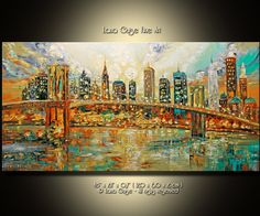"Original Cityscape Oil Painting Heavy Textured Palette Knife Painting by Lana Guise. Gallery Canvas  Artwork description: TITLE: City of Stars SIZE: 48 x 24 x 0,7"" (120 x 60 x 2 cm )  This is a ONE-OF-A-KIND Original Painting. Painted on Gallery back wrapped stretched canvas, painted black edges, ready to hang. COLORS: green, yellow, aqua blue, orange, brown, black.  SIGNED: Yes, it is signed and dated on the front and back by the artist. A Certificate of Authenticity will be included with…"