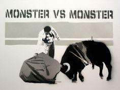 Monster vs Monster Bullfight Banksy Graffiti Art xx