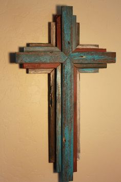 Reclaimed Wood from Oklahoma - 24 Multi Color Cross - Bluish Turquoise primary color Wooden Rustic Cross 24 tall multi color by OkieBudsWorkshop Pallet Crafts, Pallet Art, Wooden Crafts, Reclaimed Wood Projects, Small Wood Projects, Wooden Crosses, Wall Crosses, Crosses Decor, Rustic Cross