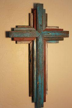 Wooden Rustic Cross 24 tall multi color by OkieBudsWorkshop