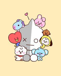 Come and meet these cutie pies in Gangnam! Bts Chibi, Cute Kawaii Drawings, Bts Backgrounds, Bts Drawings, Cute Cartoon Wallpapers, Line Friends, Bts Lockscreen, Bts Fans, Foto Bts