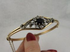 RESERVED FOR R -- Antique Edwardian 9K Gold Sapphire Paste Cluster from blackwicks on Ruby Lane