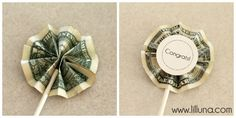 Money cupcake toppers -for graduate or fun for a birthday for older kids