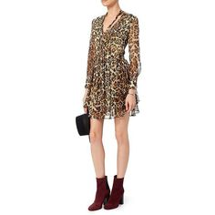 Intermix Women's Tilley Leopard Print Dress (260 CAD) ❤ liked on Polyvore featuring dresses, transparent dress, longsleeve dress, long sleeve silk dress, v-neck dresses and v neck dress