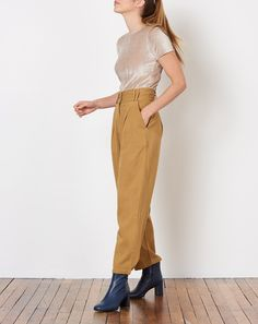 Nico Nico Wright Pleated Trouser in Tan | Covet + Lou