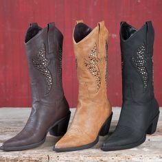 Roper+Ladies'+Tan+Studded+Boots