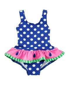 Florence Eiseman Stripe One-Piece Swimsuit w/ Watermelon Ruffle, Size 2-6X