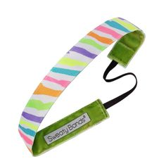 Sweaty Bands Petite Fitness Headband - Neon Stripes 1' White, Multi -- Click on the image for additional details.
