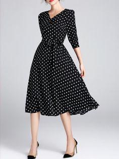 Shop Midi Dresses - Half Sleeve Printed Casual Polka Dots Midi Dress online. Discover unique designers fashion at StyleWe.com.