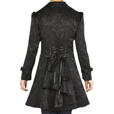 awesome -Foggy Night in Paris- Black Victorian Gothic Corset Ruffle Jacquard Vintage Style Jacket Gothic Coat, Gothic Lolita, Gothic Vampire, Gothic Fashion, Vintage Fashion, Vintage Style, Steampunk Clothing, Gothic Clothing, Steampunk Jacket
