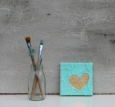 Blattgold Malerei Herz Abstrakte Malerei von AtelierMaltopf auf Etsy