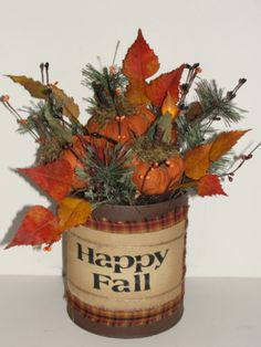 Rustic Pumpkin Can Arrangement