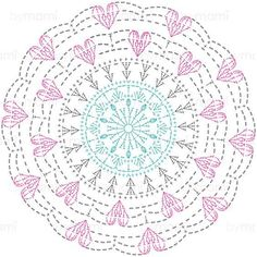 Crochet Mandalas – Page 8 Crochet Doily Diagram, Crochet Mandala Pattern, Crochet Circles, Crochet Doily Patterns, Crochet Chart, Crochet Squares, Thread Crochet, Crochet Stitches, Crochet Dreamcatcher Pattern