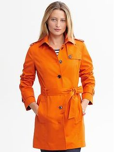 Tangerine: Banana Republic Belted Trench—It looks great over a graphic black and white dress.