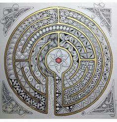Details and comments of user completely fascinated by this Labyrinth and had to draw another one Tangle Doodle, Tangle Art, Zen Doodle, Doodle Art, Zentangle Drawings, Mandala Drawing, Mandala Art, Zentangles, Doodle Patterns
