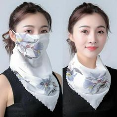 Upgrade your look this spring with this unique and fashionable style scarf and mask all in one. Made with high quality chiffon material. Mouth Mask Fashion, Fashion Face Mask, Diy Mask, Diy Face Mask, Face Masks, Diy Scarf, Mask Design, Sun Protection, Womens Scarves