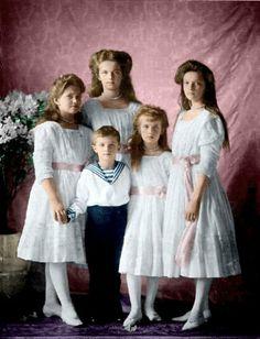 The Romanov Children~. From left to right: Maria, Olga, Alexei, Anastasia, Tatiana, children of the Russian Emperor Nicholas II; c.1911.