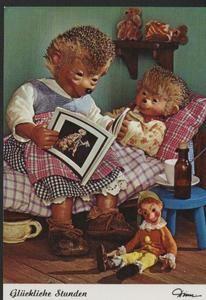 AK Mecki original Diehl Nr. 472 neu ungelaufen Mutter Kind zu Hause Kinderzimmer