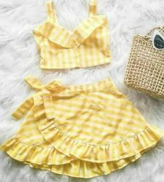 US Toddler Baby Girls Plaid Clothes Vest Crop Top+Skirt Dress Summer Outfit Set Girls Summer Outfits, Dresses Kids Girl, Little Girl Outfits, Beach Outfits, Baby Girl Fashion, Fashion Kids, Fashion Spring, Toddler Fashion, Fashion Fashion