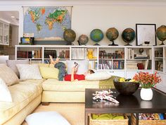 "Since our living room is also our ""school room,"" something like this would keep if feeling calm and organized."