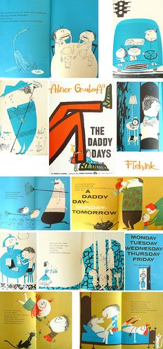 Quirky Children's Illustrator . Illustration Inspiration, Children's Book Illustration, Daddy Day, Magazines For Kids, Children's Picture Books, Book Layout, Illustrations And Posters, Vintage Illustrations, 4 Months