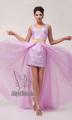 abiye elbise uzun kısa pembe