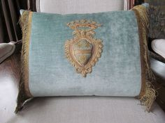 My heart on a pillow just like this one.  (Well, actually, this is a coat of arms, but— you get the idea, right?)