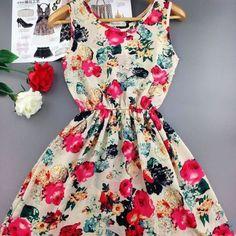 Sweet Floral Sleeveless Chiffon Spring Mini Dress – Daisy Dress For Less